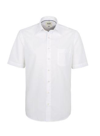 Herren-Hemd bügelfrei 1/2-Arm mit Schullogo-Stick auf dem Kragen