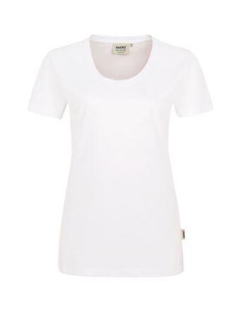 Damen-Rundhals-Shirt mit Schullogo-Druck auf dem Rücken