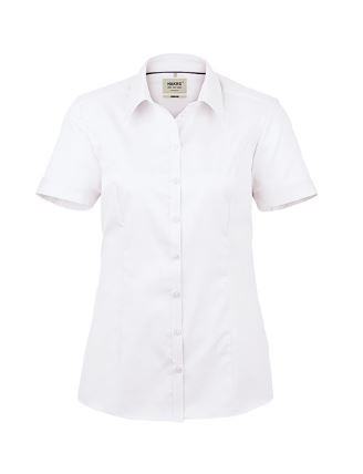 Damen-Bluse bügelfrei 1/2-Arm mit Schullogo-Stick auf dem Kragen