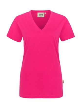Damen-V-Neck-Shirt mit Schullogo-Druck auf dem Rücken