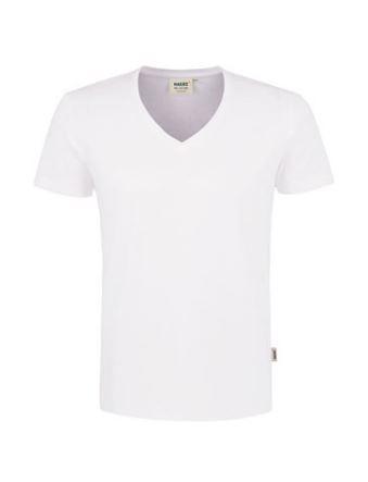 Herren-V-Neck-Shirt mit Schullogo-Druck auf dem Rücken